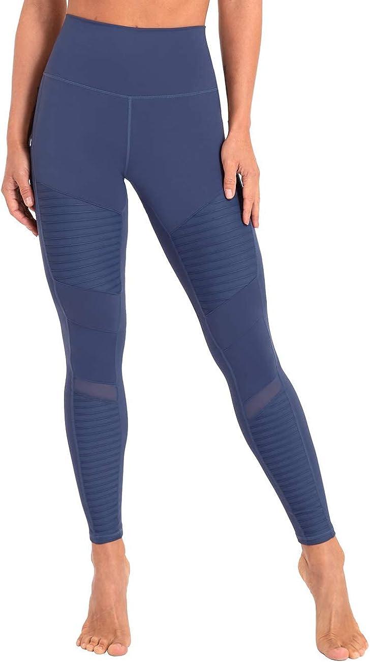 Hopgo Women's High Waist Moto Leggings Workout Mesh Legging Stretch 7/8 Skinny Yoga Pants with Inner Pocket