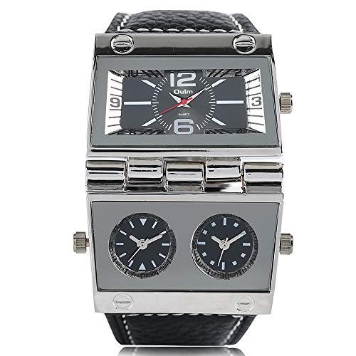 Orologi da uomo, OULM grande orologio da polso da uomo, rettangolare, stile radio, stile gig quadrante unico al quarzo