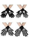 4 Pairs Halloween Skeleton Full Finger Gloves Unisex Skull Full Finger Stretch Knitted Gloves Winter Warm Gloves