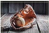 EdCott Sport Decor Baseball vintage un guanto cuoio sul vecchio tavolo legno Tappeti bagno Tappetino antiscivolo Ingresso pavimento Tappetino porta interna interni bambini 15.7x23.6in