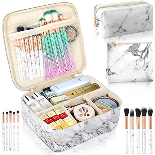 3Pcs Makeup Bags for Women, Travel Makeup Bag, Large Cosmetic Bag, Marble Makeup Bag with 10 Pcs Brushes, Makeup Case Organizer with Adjustable Dividers-White