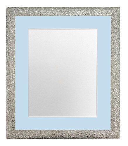 FRAMES VAN POST Glitz Champagne Zilver Fotolijst met Blauwe A4-afbeelding Grootte 9 x 6 Inch Kunststof Glas