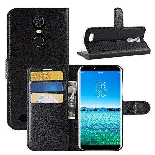 HualuBro Oukitel C8 Hülle, Premium PU Leder Leather Wallet HandyHülle Tasche Schutzhülle Flip Hülle Cover mit Karten Slot für Oukitel C8 Smartphone (Schwarz)