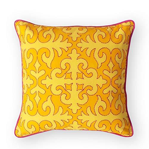 VLiving Funda de almohada de color turquesa, estampado marroquí, ribete amarillo brillante y bordado, 100% algodón, bohemio, tribal (40,6 x 40,6 cm, amarillo).