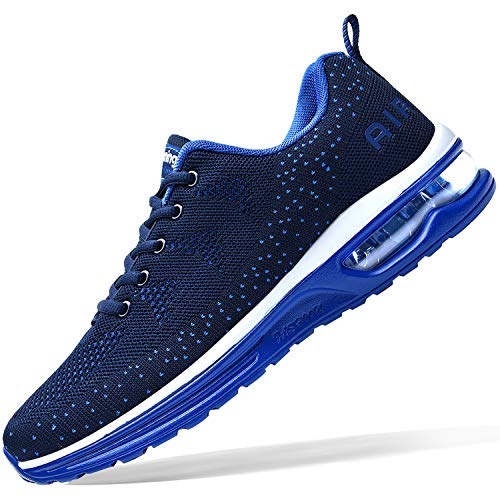 Mens Air Athletic Running Tennis Shoes Lightweight Sport Gym Jogging Walking Sneakers(Navy US7)