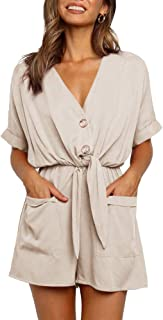 Sponsored Ad - Ivay Womens V Neck Button Rompers Knot Tie Short Sleeve Sexy Loose Playsuit Jumpsuit with Pockets