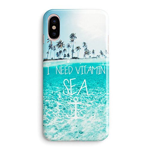 iPhone X Case,Funny Cute Tropical Beach Quote and Saying I Need Vitamin Sea Palm Tree Hawaii Blue Clean Ocean Aloha Summer Case for Girls Women Clear Side Soft Case Compatible for iPhone X/Xs