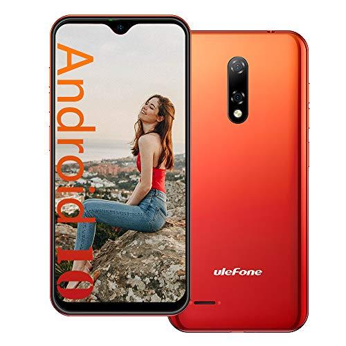 Ulefone Note 8P Android 10 4G Teléfono Móvil, 5.5' Waterdrop Smartphone, Quad Core 2GB + 16GB, SIM Dual + SD (Ranura para 3 Tarjetas), Desbloqueo Facial, Cámara 8MP+2MP+5MP GPS Rojo
