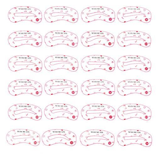 24Pcs Augenbrauen Schablone, 24 Stile Augenbraue Pflege Gestaltung Vorlage, Wiederverwendbare handhabbare Augenbrauen-Form DIY-Brauenpflege-Formvorlagen-Kits