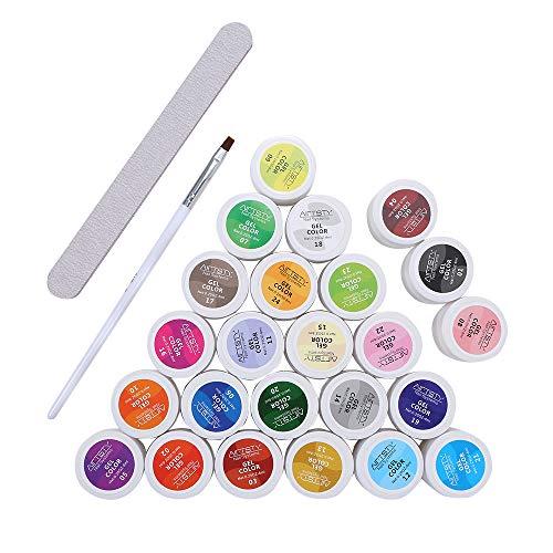 Gel colorati UV, Anself 5ml 24 Colori Moda Donna Fototerapia Colla per unghie Lampada UV/Led Kit di strumenti per smalto gel per unghie