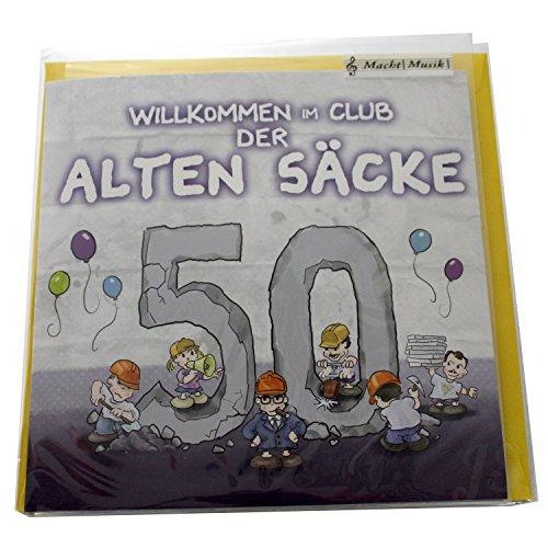 1 x Musikkarte ''50 Willkommen im Club der alten Säcke'' | Preis am Stiel