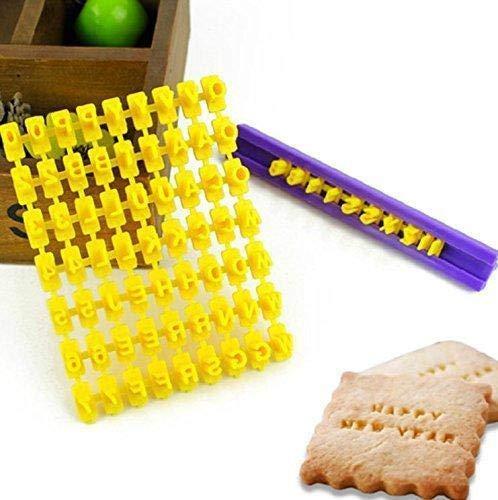 Jeffyo DIY Fondant Werkzeug, Alphabet Buchstaben Anzahl Cookies Keks Torten Gebäck Stempel Embosser Prägestempel Ausstecher