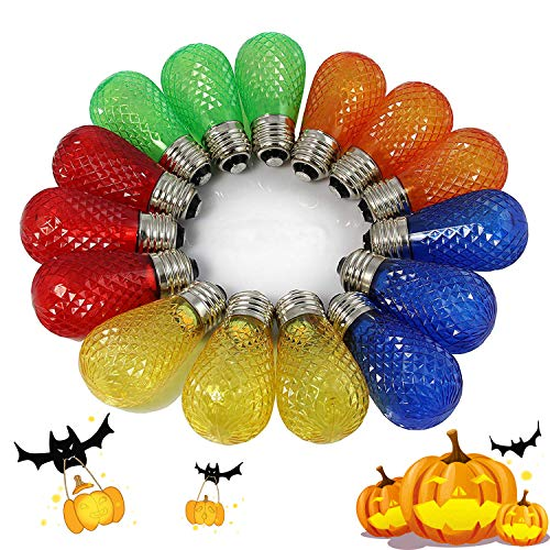 BRIMAX - S14 Colored LED Bulbs Plastic For Christmas Outdoor String Lights Replacement, Shatterproof, E26 Base Multi color Red/Orange/Blue/Green/Yellow, Halloween Decorative Bulb - 15pack