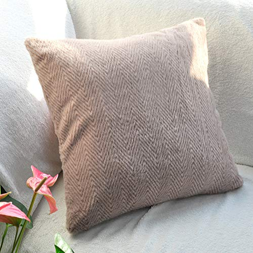 Fittia Funda de cojín decorativa con diseño de espiga, de pelo sintético, para sofá, 45 x 45 cm, 1 unidad, pasta de judías