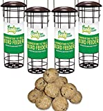 4 x <span class='highlight'>Handy</span> Home and Garden Premium Hammertone Wild Bird Fat Ball Feeder with Pack of 10 Suet Fat Balls Feed