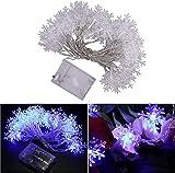 TEPET Cadena de Luces de Copo de Nieve Indestructible de 5 m 40 LED con Pilas, Cadena de luz Impermeable al Aire Libre Compatible con Christmas Home W