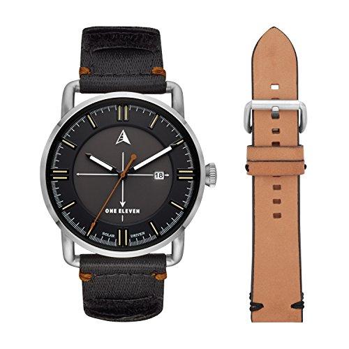 One Eleven Men's SW1 Solar Quartz Stainless Steel and Nylon Casul Watch, Color: Silver-Tone, Black (Model: CBOE5000)