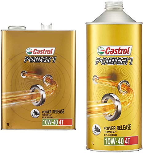 Castrol Engine Oil POWER1 4T 10W-40 1.6 gal (5 L) For Motorcycles 4 Cycle Engines Castrol [Set Purchase]