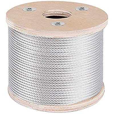 BestEquip Stainless Steel Cable 7 x 19 Aircraft Steel Cable Wire Rope SUS316 Winch Rope 1/8 Inch 1000FT for Railing Decking DIY Balustrade