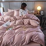 funda nordica cama 150,Lavar la seda quad de cuatro piezas de cuatro piezas de encaje de verano neta de seda roja seda de hielo de la seda de la manga de la camara de manga, un juego de almohadas de