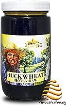 Goshen Honey Amish Extremely Raw Buckwheat Honey 100% Natural Domestic Dark Honey Health Benefits Unfiltered Unprocessed Unheated OU Kosher Certified   1 Lb Glass Jar