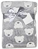 Baby Boy Girl Unisex Soft Fleece Wrap Blanket Pram Cot Crib Moses Basket Grey Teddy