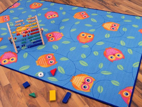 Snapstyle Kinder Spielteppich Eule Blau Türkis Grün in 24 Größen