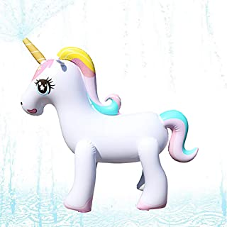 Happytime Giant Inflatable Unicorn Yard Sprinkler Newest Outdoor Inflatable Unicorn Sprinker Water Toy for Adults Kids,Over 4 Feet Tall