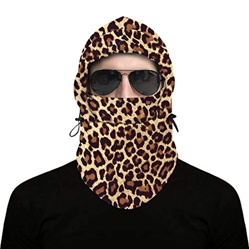 Balaclava Ski Mask - Winter Face Mask Cover for Extreme Cold Weather - Heavyweight Fleece Hood Snow Gear for Men & Women Leopard Print