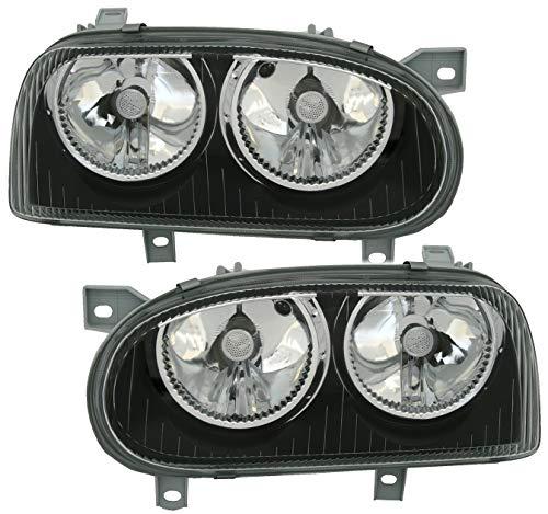 AD Tuning Scheinwerfer Set, Klarglas Schwarz, H7 / H7, für elektr. LWR, Links + rechts
