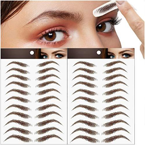 22 Paare Augenbrauen Tattoo, 4D Haarähnliche Authentic Augenbrauen, Falsch Augenbraue Aufkleber, Augenbrauen Transfer Aufkleber, Wasserdichte Natürliche Tätowierung Augenbrauen Aufkleber (Braun)