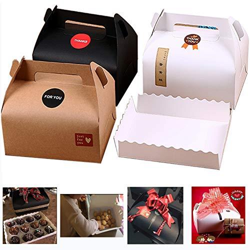 Chilly Lot de 10 boîtes cadeaux pour gâteaux, cupcakes, chocolats ou biscuits avec plateaux et 37 autocollants (3 couleurs)
