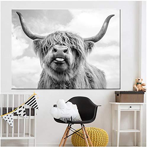 White Highland Cow Cattle Wand Leinwand Kunst Nordic Malerei Poster und DruckWandbild für Wohnzimmer dekoration-60x100 cm Kein Rahmen