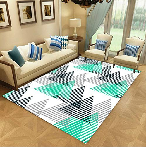WDSZY Rectangle Polyester Carpet, Modern Geometric Colorful Pattern Doormat, Bedroom Living Room Area Rugs Home Decor 120X170Cm