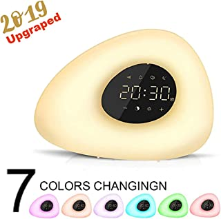 Wake up Light, Natural Sunrise Simulation Alarm Clock Sunset Fading with Color Night FM Radio for Bedside Nightlight and Children - Snooze Function for Heavy Sleepers (Warm White)