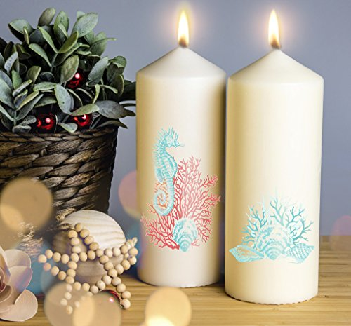 Sea Horse Coral Christmas Candle. Pillar Candle. 200mm Candle Handmade and Handprinted. 1 Candle included. Image shows front and back of candle.