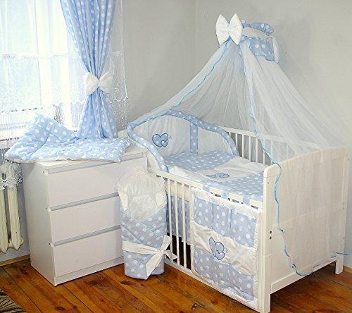 Baby's Comfort 24tlg BABY BETTWÄSCHE BETTSET MIT STICKEREI (12 FARBEN) (fürs BABYBETT 140/70 cm, 3)