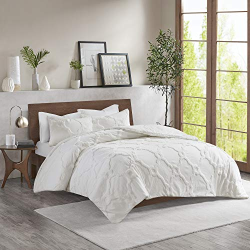 3pc Full/Queen Leena Cotton Chenille Geometric Comforter Set White