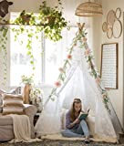 Huge Teepee Luxury Lace Tent for Wedding, Party, Photo Prop (7.5 Feet Tall) 5-Poles Lace Canopy for Indoor & Outdoor Use