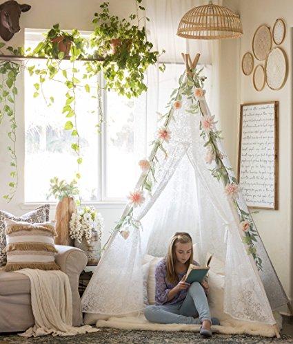 Tipi indio Tienda de Campaña, 2,1 m, color marfil Encaje con bolsa de transporte para interior al aire libre, fiesta, boda decoración, 5 polos, por Tiny Land