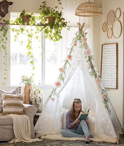 Tiny Land Huge-Lace-Teepee-Tent for Adult with Carry Bag, Wedding, Party, Photo Prop (7.5 Feet Tall) 5-Poles Lace Canopy for Indoor & Outdoor Use