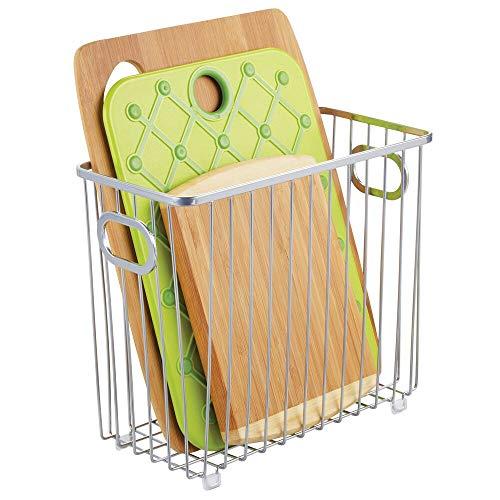 mDesign Cesta de metal para cocina – Versátiles organizadores de cocina o despensa – Cesto de alambre compacto y universal con asas integradas – plateado