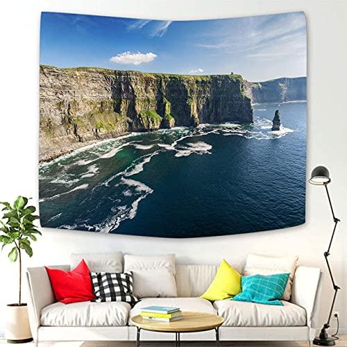 KHKJ Tapiz de montaña de Acuarela, Tapiz turístico de Campo de Irlanda aéreo, decoración de Pared, decoración de habitación, decoración de habitación A14 230x180cm