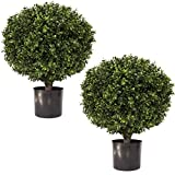 "24' Tall 16"" Round Artificial Topiary Ball Boxwood Trees (Set of 2) by Northwood Calliger 
