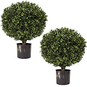 """24″ Tall 16"""" Round Artificial Topiary Ball Boxwood Trees (Set of 2) by Northwood Calliger 