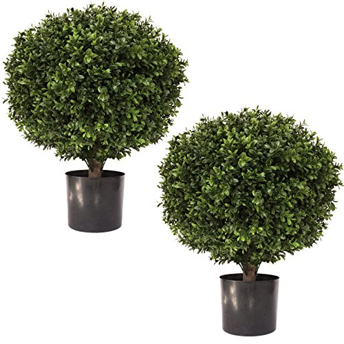 """LIMITED TIME LOW PRICE FOR FIRST TIME ON AMAZON   24"""" Tall 16"""" Round Artificial Topiary Ball Boxwood Trees (Set of 2) by Seven Oaks   Highly Realistic Potted Shrubs for Indoor/Outdoor UV Protected"""