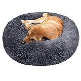 TAMOWA Cama Perro Suave Cama Gato Redonda, Camas de Gatos Perros de Donut con Parte Inferior Antideslizante, Cómodo Suave y Cálida Cama para Mascotas Gatos y Perros Pequeños, 50cm, Gris Oscuro