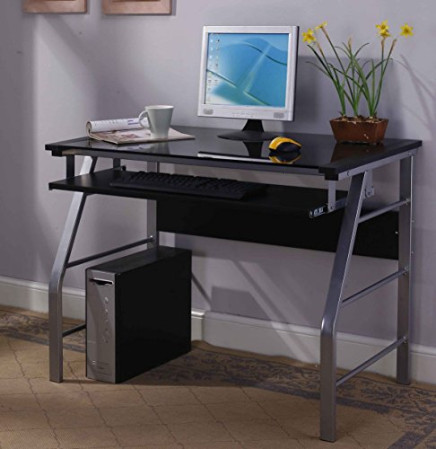 King's Brand Glass and Metal Home Office Computer Workstation Desk/Table, Silver Finish