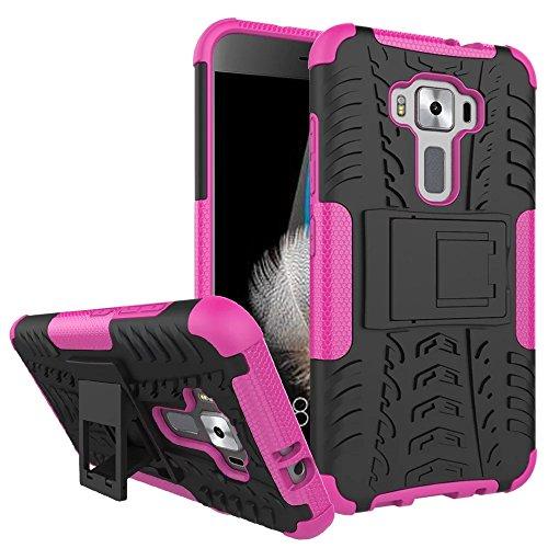 Sunrive Für ASUS ZenFone 3 ZE520KL 5,2 Zoll, Hülle Tasche Schutzhülle Etui Hülle Cover Hybride Silikon Stoßfest Handyhülle Hüllen Zwei-Schichte Armor Design schlagfesten Ständer Slim Fall(rosa)