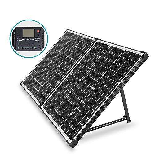 HQST 100 Watt 12 Volt Off Grid Monocrystalline Portable Folding Solar Panel Suitcase Built-in Kickstand with Charge Controller for Both Generator and 12V Battery for RV & Marine